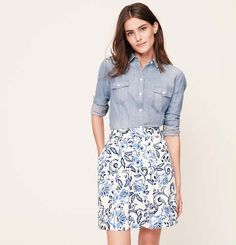 Petite Floral Pocketed Skirt | Loft