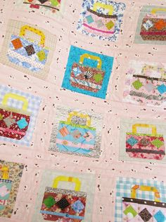 """Quilt baby patchwork kid throw blanket cover bedding handbags dogs pink blue brown yellow gray burgundy nursery decor colorful 31 x 39"""" gift by poppyshome on Etsy"""