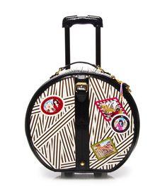 disturbed stripe hatbox graphic wheelie - canvas wheelie luggage -  I'd love to travel with this beauty!!