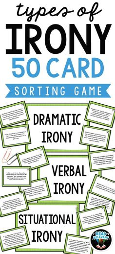 Teaching types of irony in your class? Go beyond worksheets with these fun, interactive task cards that students love. Dramatic, situational and verbal irony are all covered with 50 example cards.