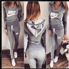 Light gray V neck , classy sport set Swag Outfits For Girls, Sporty Outfits, Hot Outfits, Nike Outfits, Summer Outfits, Fashion Outfits, Jogging Style, Joggers Outfit, Sweatpants Outfit