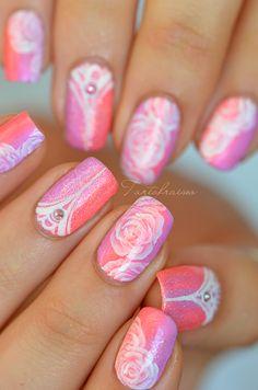 Gradient pink nail art one stroke nails i love trendy nail a Beautiful Nail Art, Gorgeous Nails, Love Nails, Pink Nails, How To Do Nails, My Nails, Art Rose, Rose Nail Art, Nail Art Pastel