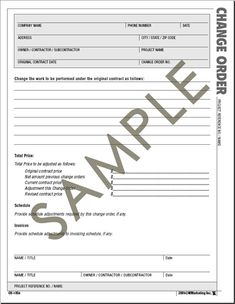 Construction Change Order Form Atlas Construction Business Forms   Save  Time And Money With The .