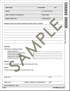 Change Order Form images - change order form template   Real State ...