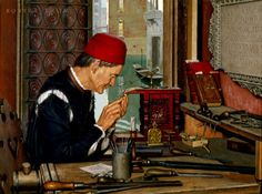 Artist Robert Thom's depiction of Nicolas Jenson at his engraving bench