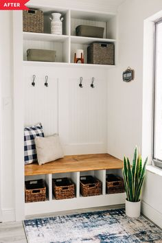 A DIY built-in bench with cubbies and hooks transforms an entryway. Entry Closet, Closet Mudroom, Closet Space, Closet Bench, Laundry Closet, Small Laundry, Room Closet, Entryway Organization, Organized Entryway