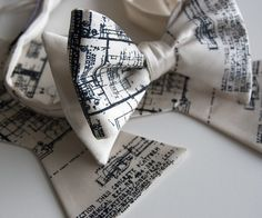 Men's cream bow tie freestyle Blueprint design by Cyberoptix. £26.16