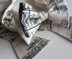 Mens cream bow tie freestyle Blueprint design by Cyberoptix, $40.00