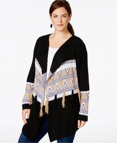 NY Collection Plus Size Jacquard-Knit-Patterned Fringe Cardigan - Sweaters - Plus Sizes - Macy's