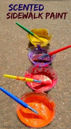 Make Your Own Scented Sidewalk Paint using just two ingredients;  easy to make and so fun!