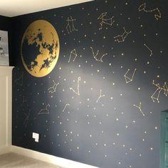 Nursery Decor, Wall Decor, Chalk Wall, Best Friend Tattoos, Zodiac Constellations, Face Design, Textured Walls, Wall Murals, Kids Room