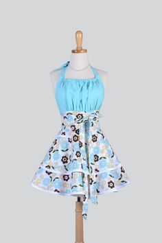 Flirty Chic Apron  Floral Aqua Chocolate Brown by CreativeChics