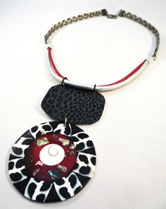 "SALE *20% Necklace. Leather & Mother of pearl "" Urban Tribe "" collection from Carla Amaro  by DaWanda.com"