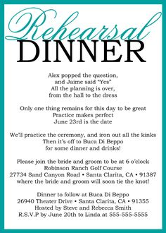 Very cute!  Custom Printable Wedding Rehearsal Dinner Poem Invitation. $15.00, via Etsy.