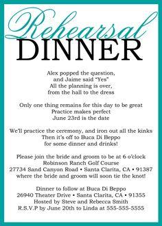 Very cute!  Custom Printable Wedding Rehearsal Dinner Poem Invitation. $15.00, via Etsy.