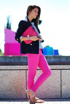 Fucsia pants trend. Love it! ♥