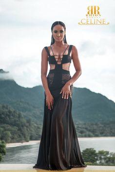 Celine by Trinidad & Tobago designer Rhion Romany - Resort 2016. Model: La Toya Woods (Miss Trinidad & Tobago Universe 2010)