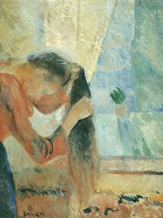 Edvard Munch (Norwegian, 1863-1944), Young Woman Combing Her Hair, 1892. Oil on canvas, 72.3 x 91.4 cm. Rasmus Meyer Collection, Bergen.