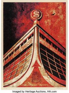 Glass Houses, by Shepard Fairey. One of the most influential street artists working today, Shepard Fairey has created political works acr. Shepard Fairey Posters, Shepard Fairey Obey, Banksy Prints, Omg Posters, Obey Art, Graffiti Murals, Canvas Home, House Canvas, Galleries In London