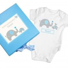 Personalise this Blue Baby Elephant Gift Box & Baby Vest with any name up to 12 characters.'Baby Keepsakes' is fixed.The name will appear on the box and baby vest.The box measures x x and features a gingham ribbon. The box is kep. Personalised Childrens Gifts, Handmade Baby Gifts, Personalized Baby Gifts, New Baby Gifts, Elephant Baby Boy, Elephant Gifts, Baby Boy Vest, Baby Frame, Baby Keepsake