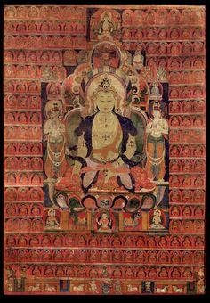Ratnasambhava Buddha - (Sarvadurgati Tantra) - Rubin Museum of Art - Tibet Tibetan Mandala, Tibetan Art, Tibetan Buddhism, Buddhist Art, Le Tibet, Buddha Artwork, Thangka Painting, Tantra, Asian Art