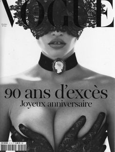 Vogue Paris October 2010 With her face hidden behind a black lace and crystal headpiece by Philip Treacy, Lara Stone celebrated 90 years of Vogue Paris in a black and white editorial shot by photographers Mert Alas & Marcus Piggott. The Dutch model is immediately recognizable, with her ample curves and full lips