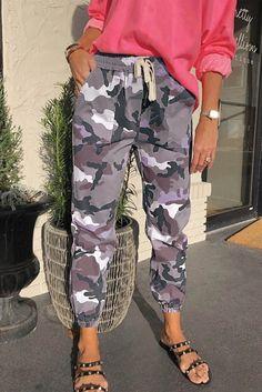 Gray Elastic Waist Neon Camo Joggers – ModeShe.com #pants #joggers