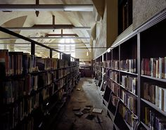 Detroit in Ruins: East Side Public Library (Photo by Yves Marchand and Romain Meffre) Abandoned Buildings, Abandoned Library, Abandoned Detroit, Abandoned Places, Detroit Ruins, Abandoned Castles, Haunted Places, Abandoned Mansions, Haunting Photos