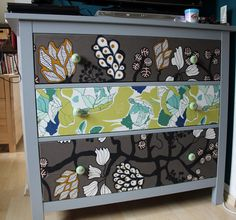 Ikea HEMNES chest of drawers: painted, covered with IKEA fabric, fitted with new hardware