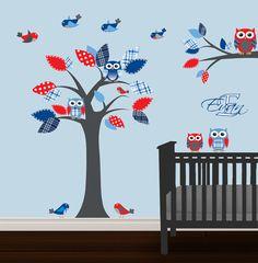 Boys Nursery Tree Decal Owl Wall Decal Vinyl Wall door NurseryDecals, $99.99