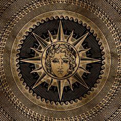 Golden Apollo Sun God on Greek Key Ornament Art Print by Nartissima - X-Small Greek Mythology Art, Roman Mythology, Greek Sun God, Apollo Aesthetic, Apollo Greek, The Wicked The Divine, Greek Tragedy, Greek Gods And Goddesses, Greek Art