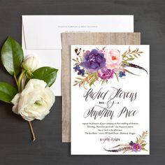 Bohemian Floral Wedding Invitation in Purple by Emily Crawford for elli.com
