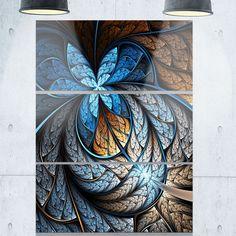 Brown Fractal Flower Pattern - Floral Glossy Metal Wall Art - 36Wx28H