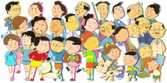 サザエさん 家族集合(年齢・学歴・家系図・都市伝説)一覧リスト シルエット    image