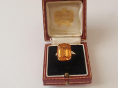 VINTAGE 1940S CARTIER 18CT. GOLD IMPERIAL TOPAZ & DIAMOND RING,BOXED | eBay