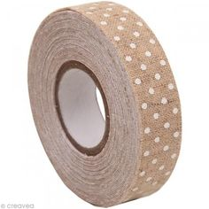 fabric tape burlap toile de jute lin pois blanc mariage diy