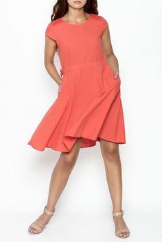 Linen Pocket Dress Orange, linen dress, orange dress, cotton dress for summer, linen boho dress, cute solid color dress