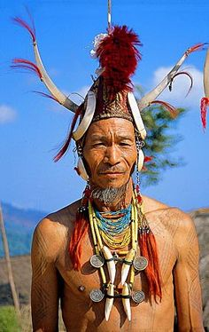 Myanmar Naga man. This shows (mostly) quite traditional Naga adornment very well, as worn on the body.