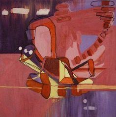 Kraan - Hanna van Doornum - Schilderij. Hanna van Doornum schildert met frisse kleuren zoals paars, roze, blauw en geel. Haar uitgangspunt is figuratief, maar het eindresultaat is abstract. Te huur en te koop bij Kunstuitleen Zwolle.