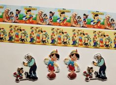 """2 Yards & 4 Resin Mixed lot Pinocchio Inspired Grosgrain Ribbon 1""""  #Unbranded"""
