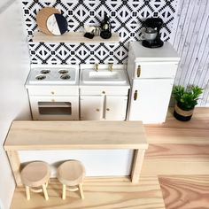 Stockist of bespoke modern dollhouse miniatures for collectors in scale. Barbie House Furniture, Modern Dollhouse Furniture, Wooden Dollhouse, Miniature Furniture, Diy Dollhouse, Doll Furniture, Kitchen Furniture, Kitchen Dining, Barbie Kitchen