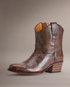 Frye Women's Deborah Short Boot - Whiskey Python.