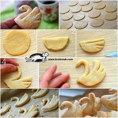 Swan Shaped Cookie Recipe Tutorial: This swan cookies are so beautiful and easy to make and will be great treats for after school snacks or gift delivery. Shaped Cookies Recipe, Bread Shaping, Cookie Tutorials, Cupcakes, Chocolate Filling, Food Humor, Cakepops, Cute Food, Diy Food