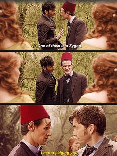 One of them is a Zygon. // I'm not judging you. {gif}