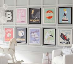 personalized art for the playroom!  DIY in photoshop with images specific to each kid