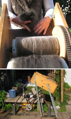 From Fibershed: A bicycle driven drum carder used to make a felted black alpaca coat.