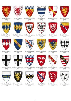 Wiki page on The Parliamentary Roll in England. Medieval Shields, Shield Design, Mystery Of History, Medieval Knight, Badge Design, Window Art, Chivalry, Family Crest, Interesting History