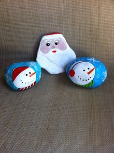 Santa and snowman painted rocks