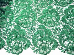 green lace fabric hollowed flowers fashion design by xoxoFabric Green Lace, Pink Lace, White Lace, Wedding Fabric, Lace Weddings, Embroidered Lace, Lace Fabric, Wedding Bride, Hot Pink