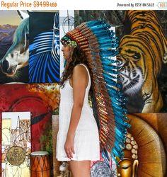 HALLOWEEN en vente sur l'Original - plume véritable Aqua chef indien coiffe Replica 125cm, à la main de Style amérindien Costume fait War Bonnet